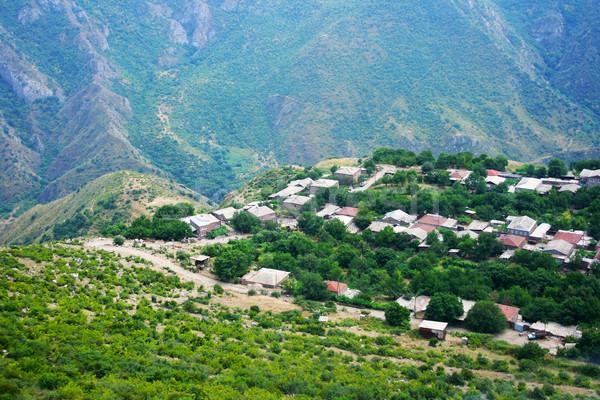 Montagne village vue altitude Arménie ciel Photo stock © ruzanna
