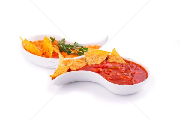 Nachos queijo vermelho molho isolado branco Foto stock © ruzanna