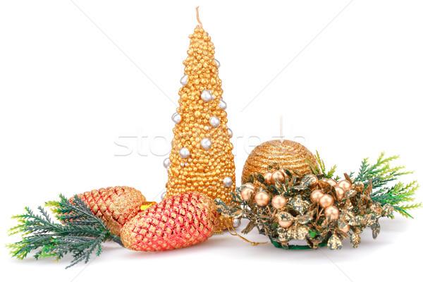 Navidad decoración velas juguetes aislado blanco Foto stock © ruzanna