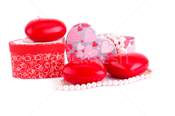 Red heart candles, necklaces and gift boxes Stock photo © ruzanna