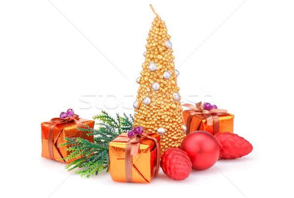 Рождества украшение свечу игрушками изолированный белый Сток-фото © ruzanna
