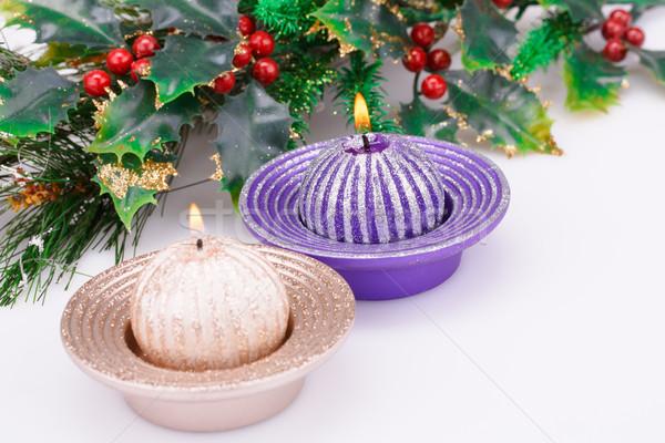 Karácsony gyertyák dekoráció szürke zöld tél Stock fotó © ruzanna
