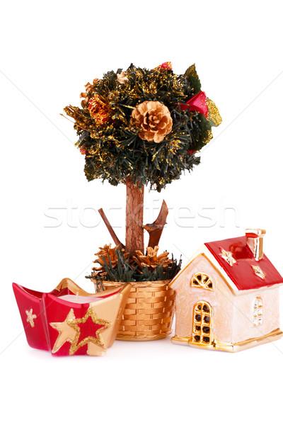 Karácsony díszítések izolált fehér fa háttér Stock fotó © ruzanna