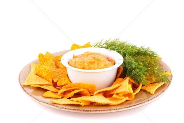ナチョス チーズ ソース 孤立した 白 緑 ストックフォト © ruzanna