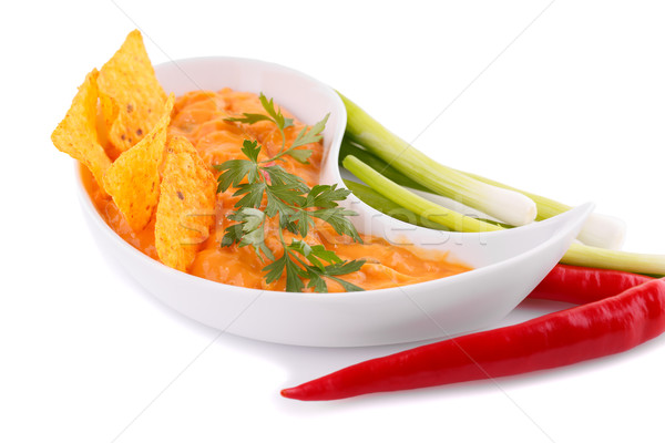 Foto d'archivio: Nachos · formaggio · salsa · verdura · isolato · bianco