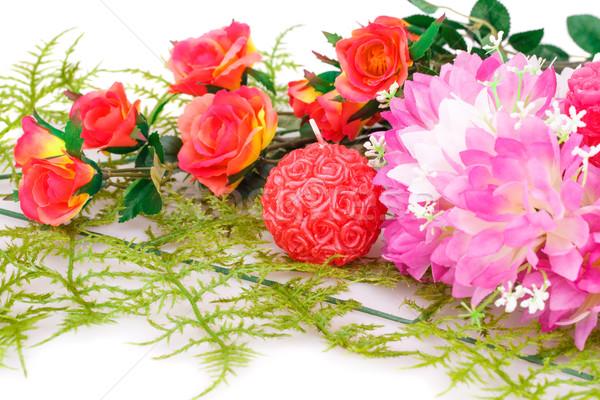 красочный цветы свечей белый любви Сток-фото © ruzanna