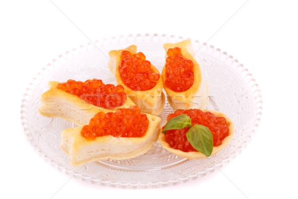 Piros kaviár sütemények üveg átlátszó tányér Stock fotó © ruzanna