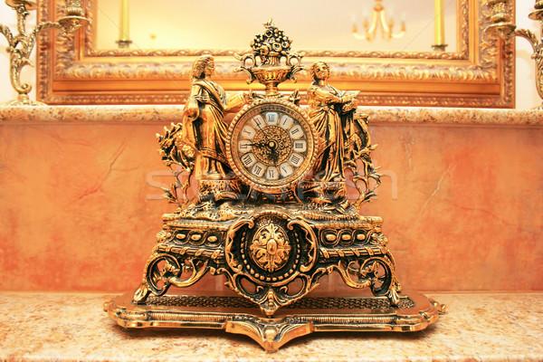 Klok oude stijl marmer tabel tijd Stockfoto © ruzanna