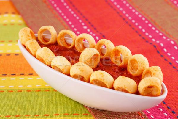 Krumpli gyűrűk piros mártás izolált színes Stock fotó © ruzanna