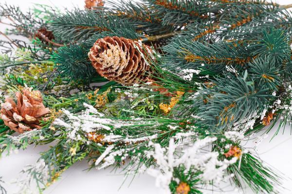 Christmas decoratie tak achtergrond witte aanwezig Stockfoto © ruzanna