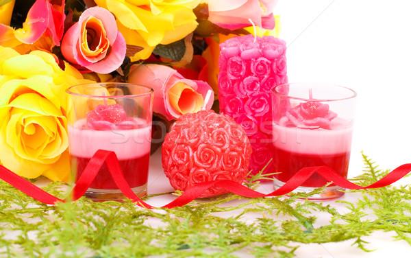 Día de san valentín colorido flores velas blanco boda Foto stock © ruzanna