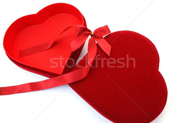 Red heart box and ribbon Stock photo © ruzanna