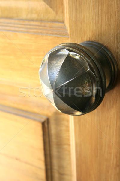 Griff Holz Tür metallic Licht home Stock foto © ruzanna