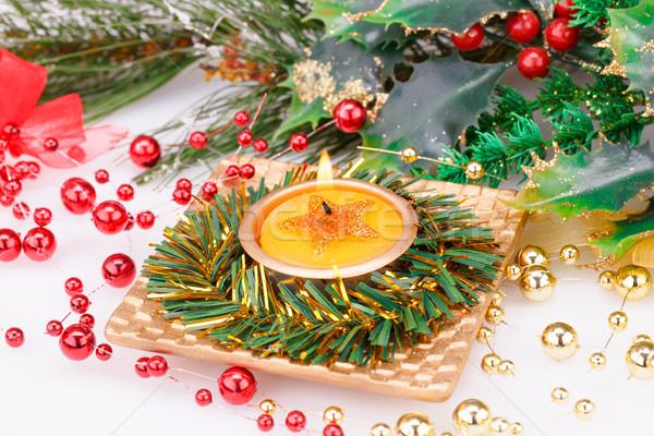 Karácsony dekoráció gyertya szürke zöld tél Stock fotó © ruzanna