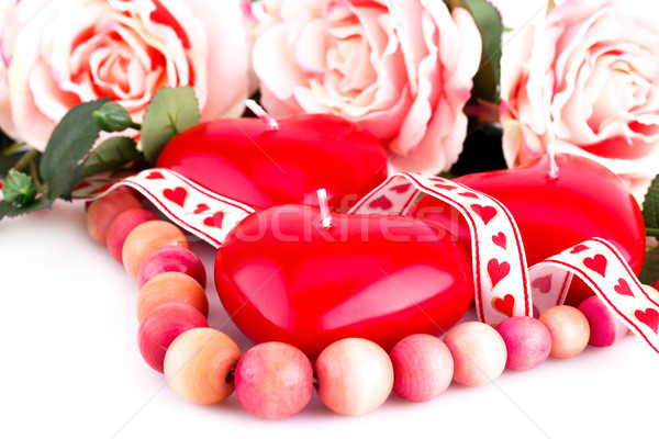 красный сердце свечей ожерелье роз Сток-фото © ruzanna