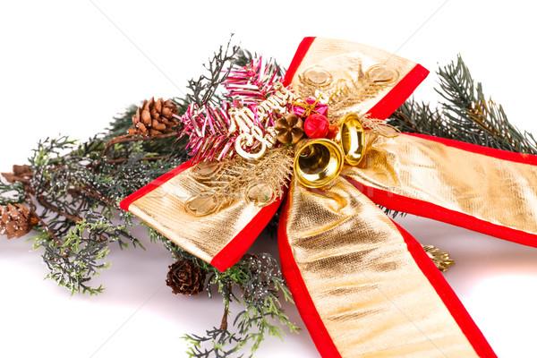 Stockfoto: Christmas · decoratie · lint · tak · ontwerp