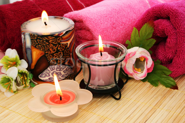 Towels, flowers, candles Stock photo © ruzanna
