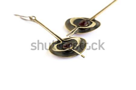 Ancient style earrings with garnet Stock photo © ruzanna