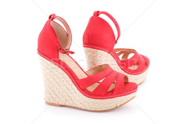 Czerwony sandały odizolowany biały moda piękna Zdjęcia stock © ruzanna
