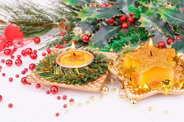Natal velas decoração cinza verde inverno Foto stock © ruzanna