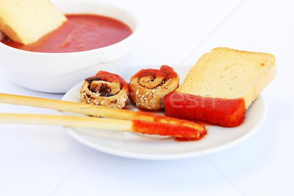 Susam ekmek sos kırmızı yalıtılmış gri Stok fotoğraf © ruzanna