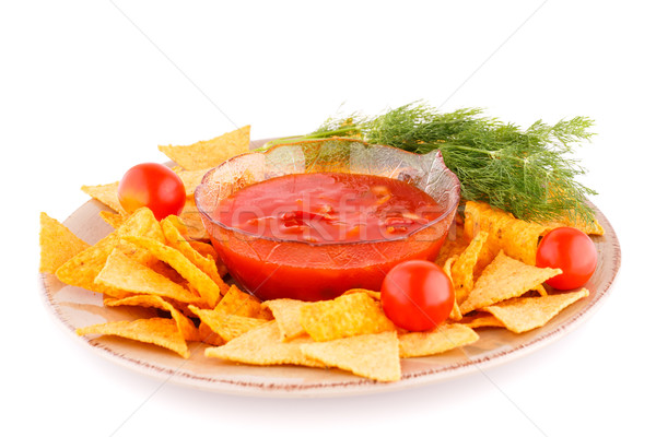 Nachos rouge sauce tomate cerise plaque isolé Photo stock © ruzanna