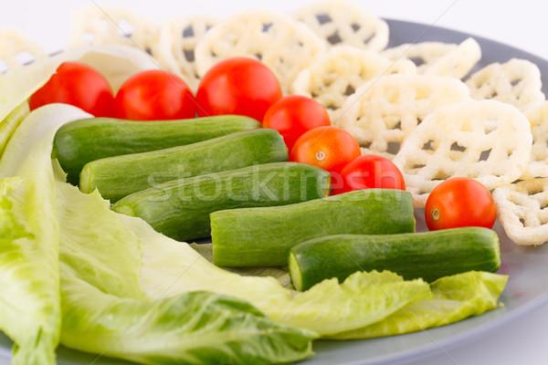 Batatas fritas legumes prato comida grupo alimentação Foto stock © ruzanna