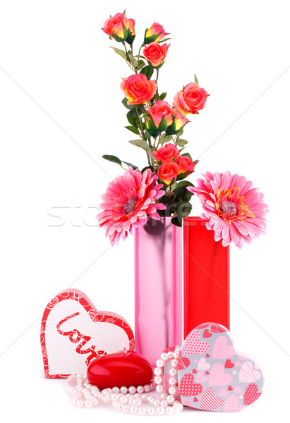 цветы красный сердце свечу Сток-фото © ruzanna