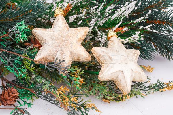 Natal decoração amarelo estrelas inverno estrela Foto stock © ruzanna