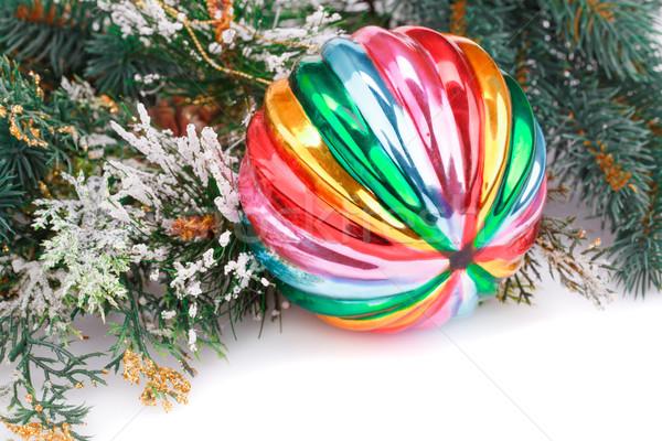 Karácsony dekoráció színes labda ág fehér Stock fotó © ruzanna