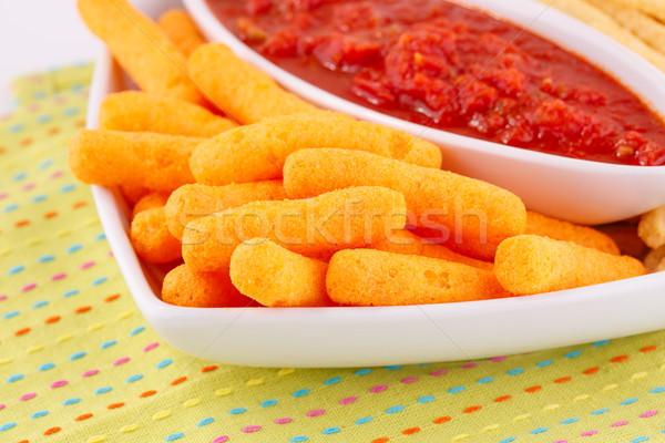 Kukorica sültkrumpli piros mártás színes asztalterítő Stock fotó © ruzanna