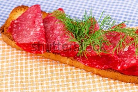 Szendvics szalámi izolált szürke étel zöld Stock fotó © ruzanna