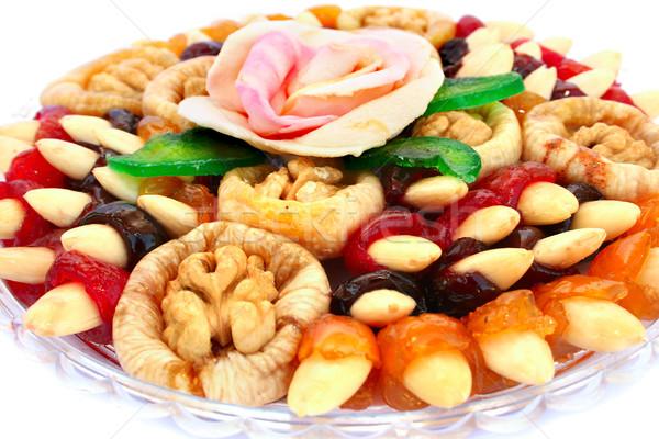 Сток-фото: сушат · плодов · пластина · изолированный · белый · фрукты