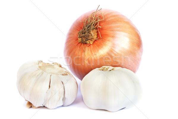 Stock photo: Onions and garlics
