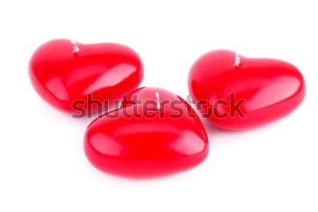 Vermelho coração velas isolado branco feliz Foto stock © ruzanna