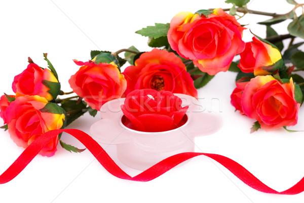 Farbenreich Rosen Kerze Band weiß Stock foto © ruzanna