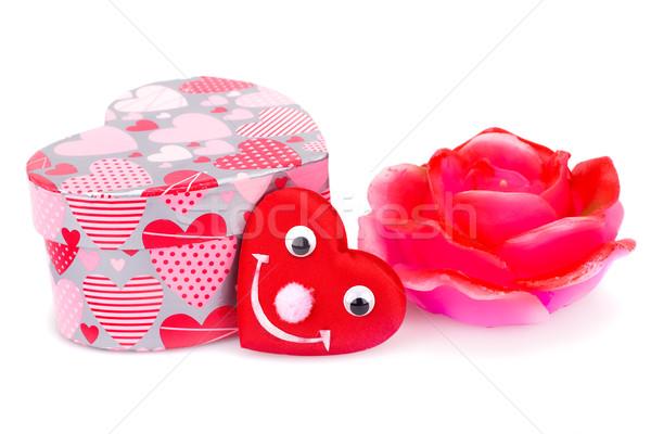 Valentin nap piros rózsa gyertya ajándék doboz piros szív Stock fotó © ruzanna