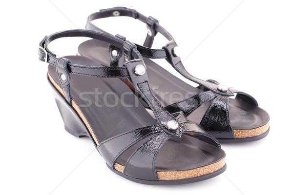 сандалии черный изолированный белый моде Сток-фото © ruzanna