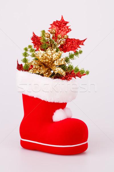 Karácsony dekoráció piros csizma izolált szürke Stock fotó © ruzanna