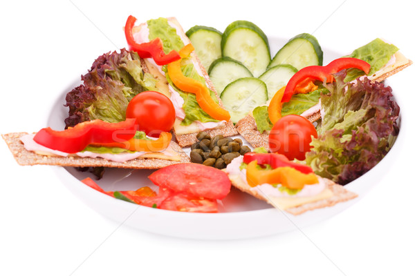 Crackers with fresh vegetables and cheese Stock photo © ruzanna