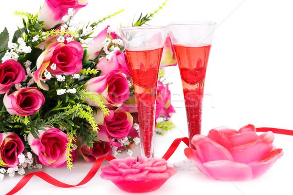 два очки свечей роз изолированный Сток-фото © ruzanna