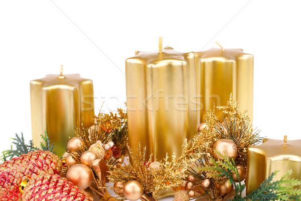 Рождества украшение свечей изолированный белый свечу Сток-фото © ruzanna
