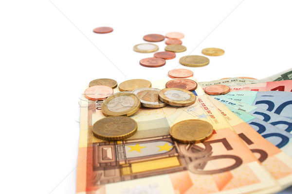 монетами изолированный белый деньги синий Сток-фото © ruzanna