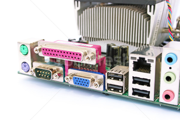 Moederbord oude vuile computer geïsoleerd witte Stockfoto © ruzanna