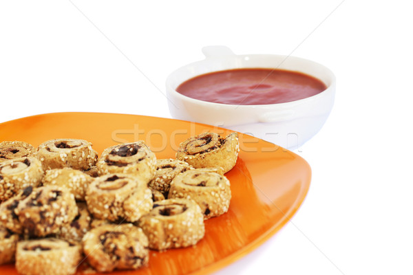 Rusks with sesame seeds, olives and sauce Stock photo © ruzanna