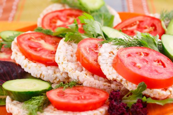 риса Бутерброды овощей пластина листьев красный Сток-фото © ruzanna