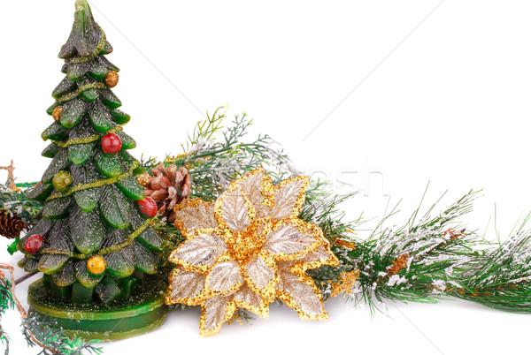 Karácsony dekoráció fenyőfa gyertya sárga virág fehér Stock fotó © ruzanna