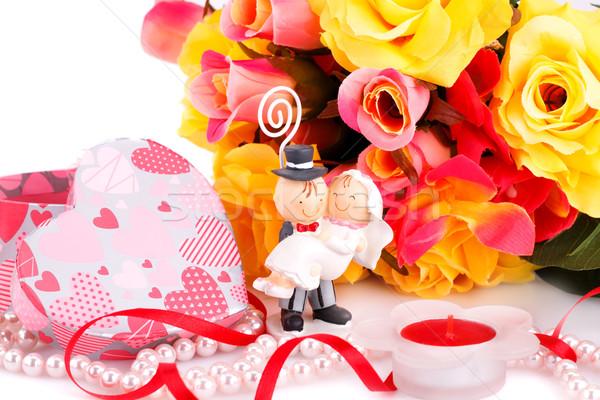 Esküvő nap színes rózsák menyasszony gyertya Stock fotó © ruzanna