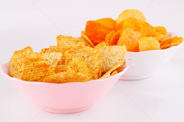 картофельные чипсы кегли розовый белый изолированный серый Сток-фото © ruzanna