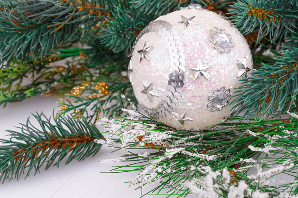 Karácsony labda dekoráció fehér hó tél Stock fotó © ruzanna
